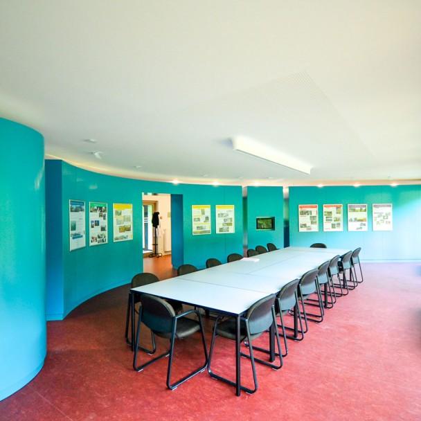 L'intérieur de la salle principale du poste d'accueil du Château de Moha
