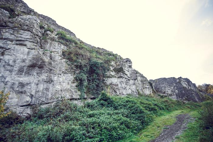 Les rochers du massif calcaire dinantien sous les murailles du château de Moha