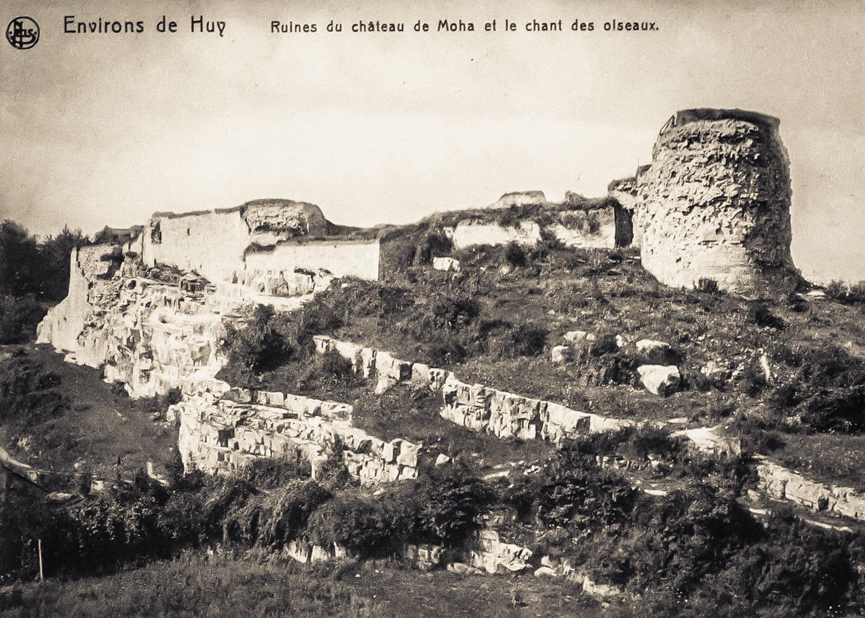 Photographie ancienne d'une dame lavant son linge à proximité des ruines du château de Moha