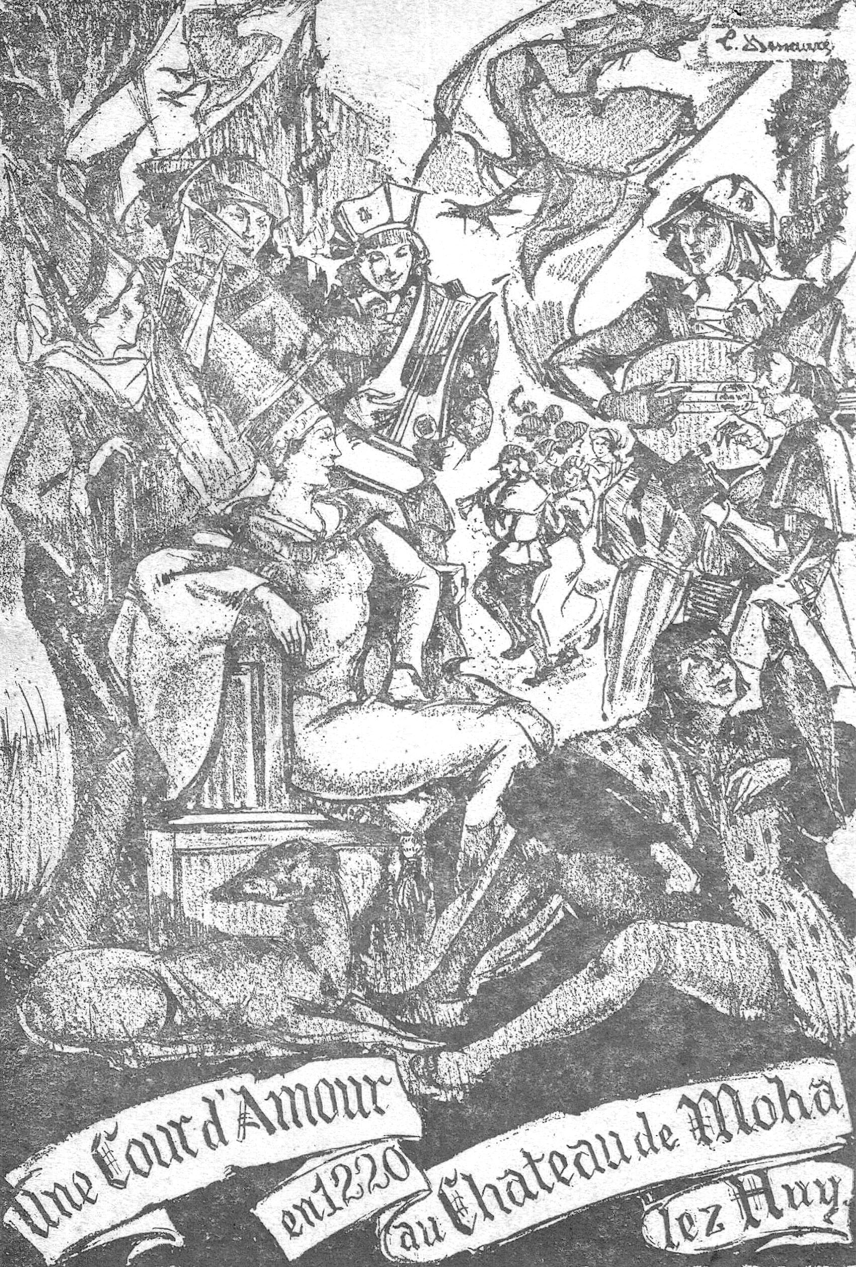 Gravure ancienne, 'Une cour d'amour en 1220 au Château de Moha lez Huy'